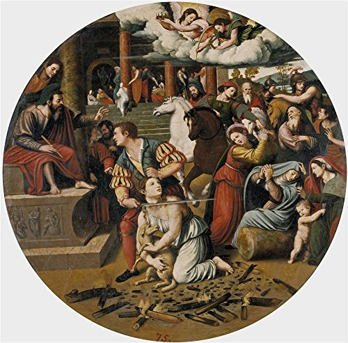 Polyster Canvas ,the Amazing Art Decorative Canvas Prints Of Oil Painting 'Masip Juan Vicente The Martyrdom Of Saint Inez Ca. 1540 ', 20 X 20 Inch / 51 X 52 (Simple Lioness Costume)