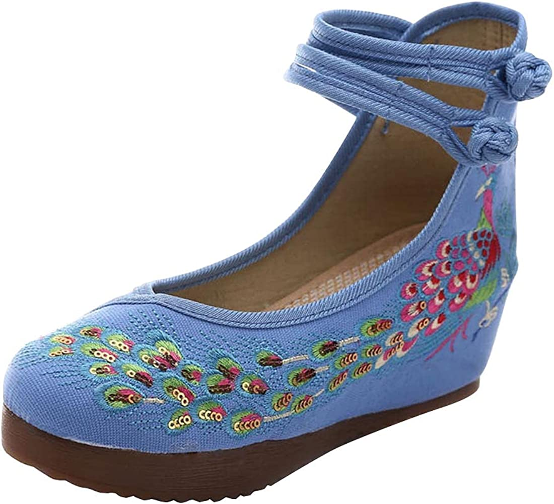 Chinesische traditionelle Damenschuhe Knöchelriemen Schuhe Plattform Wedges Sandale Kleid Schuhe ...