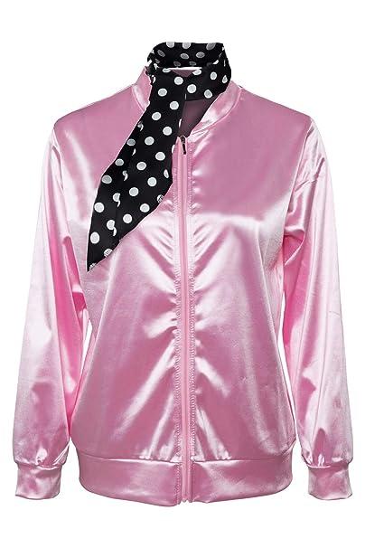 helymore Grease Pink Ladies 1950s Danny Chaqueta de Saten Pink con Panuelo de Lunares Abrigo Rosa para el Carnaval de Halloween, XL