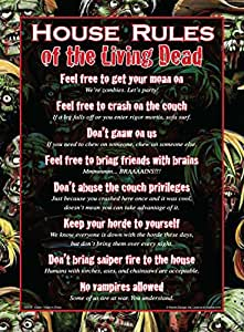 House Rules Of The Living Dead Tin Sign 8 x 12in