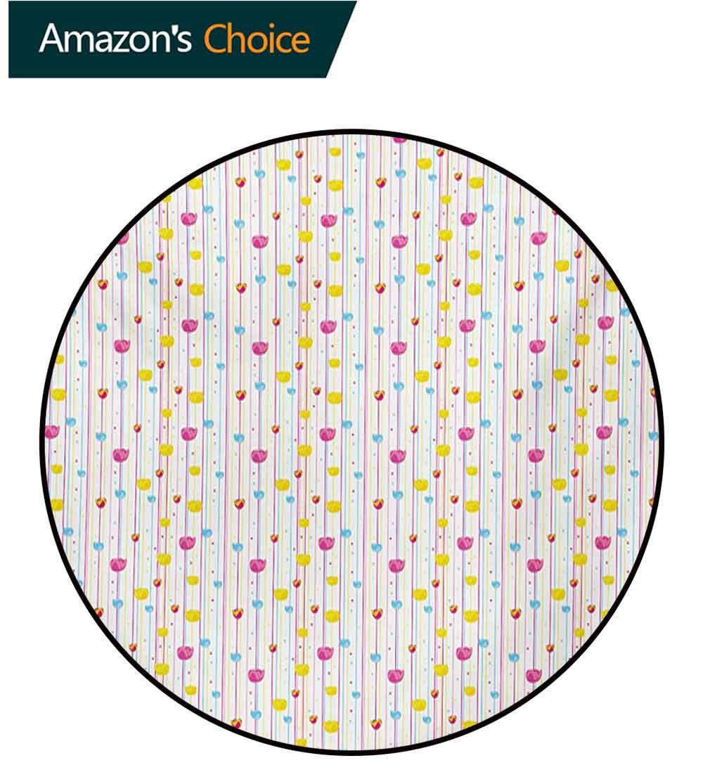 RUGSMAT Yellow and Blue Machine Washable Round Bath Mat,Vertical Thin Stripes with Little Flowers and Colorful Tulips Non-Slip No-Shedding Bedroom Soft Floor Mat,Round-31 Inch Pink Yellow Pale Blue by RUGSMAT (Image #2)