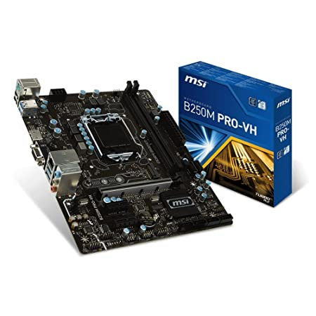 MSI Motherboard B250M PRO-VH Core i3/i5/i7 B250 LGA1151 DDR4 64GB SATA PCI Express USB Micro-ATX Retail Motherboards at amazon