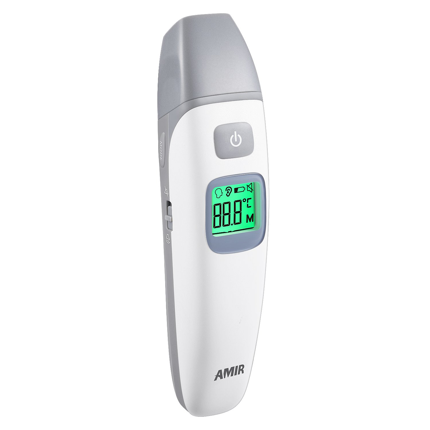 AMIR Forehead and Ear Thermometer, Infrared Digital Body Thermometer, Baby Thermometer with 1s Instant Read, Mute/Audible Switchable, FDA/CE/ISO Approved, Fever Alarm(Battery Included)