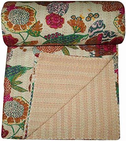 Indian Handmade Quilt Vintage Twin Cotton Blanket Kantha Gudari Throw Bedspread