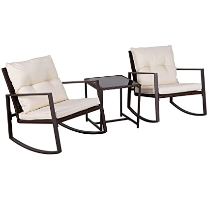 detailed look f81bc 8974f SUNCROWN Outdoor Patio Furniture 3-Piece Bistro Set Brown Wicker Rocking  Chair - Two Chairs with Glass Coffee Table (Beige Cushion)