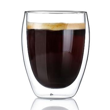 SWEESE - tazas de café vasos de doble pared con aislamiento con mango - 12,5 onzas, juego de 2: Amazon.es: Hogar