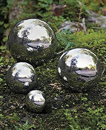 SET OF 4 STAINLESS STEEL GARDEN SHINY SPHERES ORBS YARD LAWN OUTDOOR HOME  DÉCOR ;from
