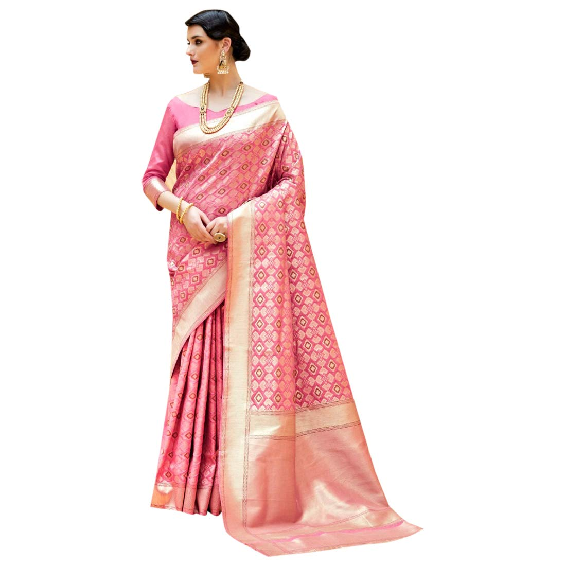 Indian Ethnic Pink Royal Silk Saree With Blouse Rich Pure Party Wear 7344