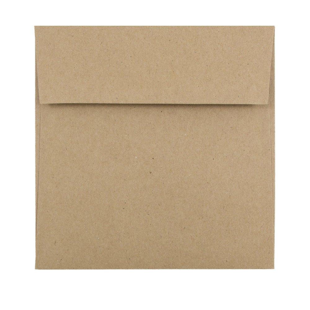 JAM PAPER 5 1/2 x 5 1/2 Square Premium Invitation Envelopes - Brown Kraft Paper Bag - 25/Pack