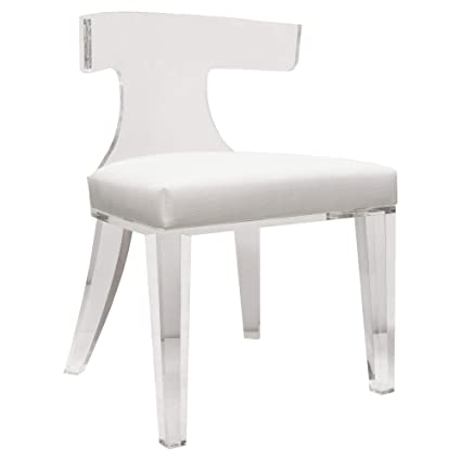 Fabulous Amazon Com Kathy Kuo Home Crius Modern Acrylic White Linen Unemploymentrelief Wooden Chair Designs For Living Room Unemploymentrelieforg