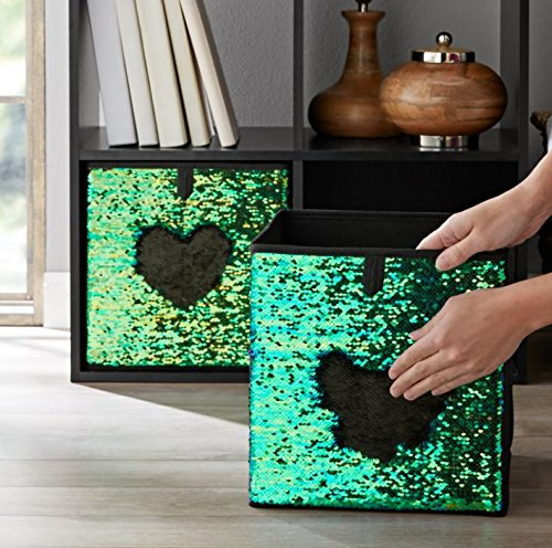 Mainstays Sequin Reversible Collapsible Fabric Storage Cube Bin, Set of 2 (Blue Green/Black)