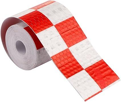 Amazon.es: powstro Pack de 2 coche reflectante cinta rojo y blanco tira de seguridad advertencia adhesivo para coches, camiones, remolques, caravanas, barcos, del buzones