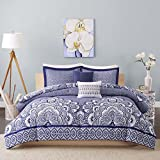 Intelligent Design Isabella Comforter Set Twin/Twin XL Size - Navy, Geometric Damask – 4 Piece Bed Sets – Peach Skin Fabric Teen Bedding for Girls Bedroom