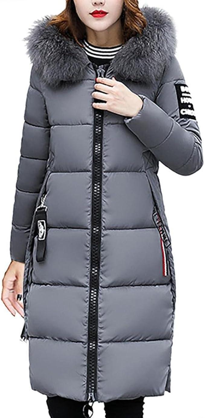 Zarupeng Frauen Kapuze Daunenjacke, Reine Farbe Dicker Winter Lange Slim Fit Mantel