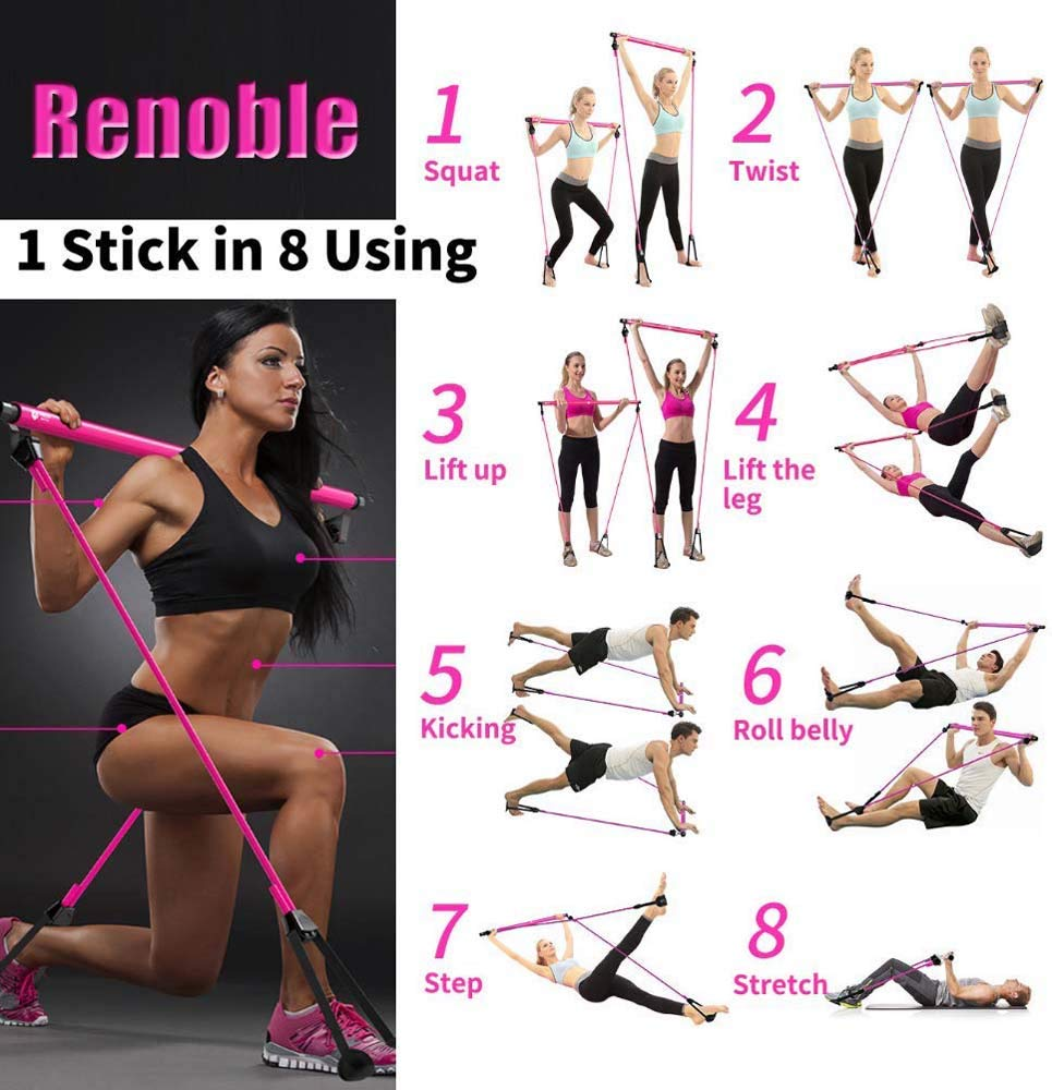 Pink Dyfree Long Resistance Band Bar Fitness Pilates Bar for Bodybuilding Workout ,Detachable Pilates Yoga Fitness Stick,Pilates Stick Bar