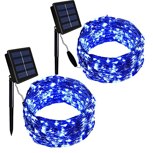 Blue Solar Powered Christmas Lights in US - 3