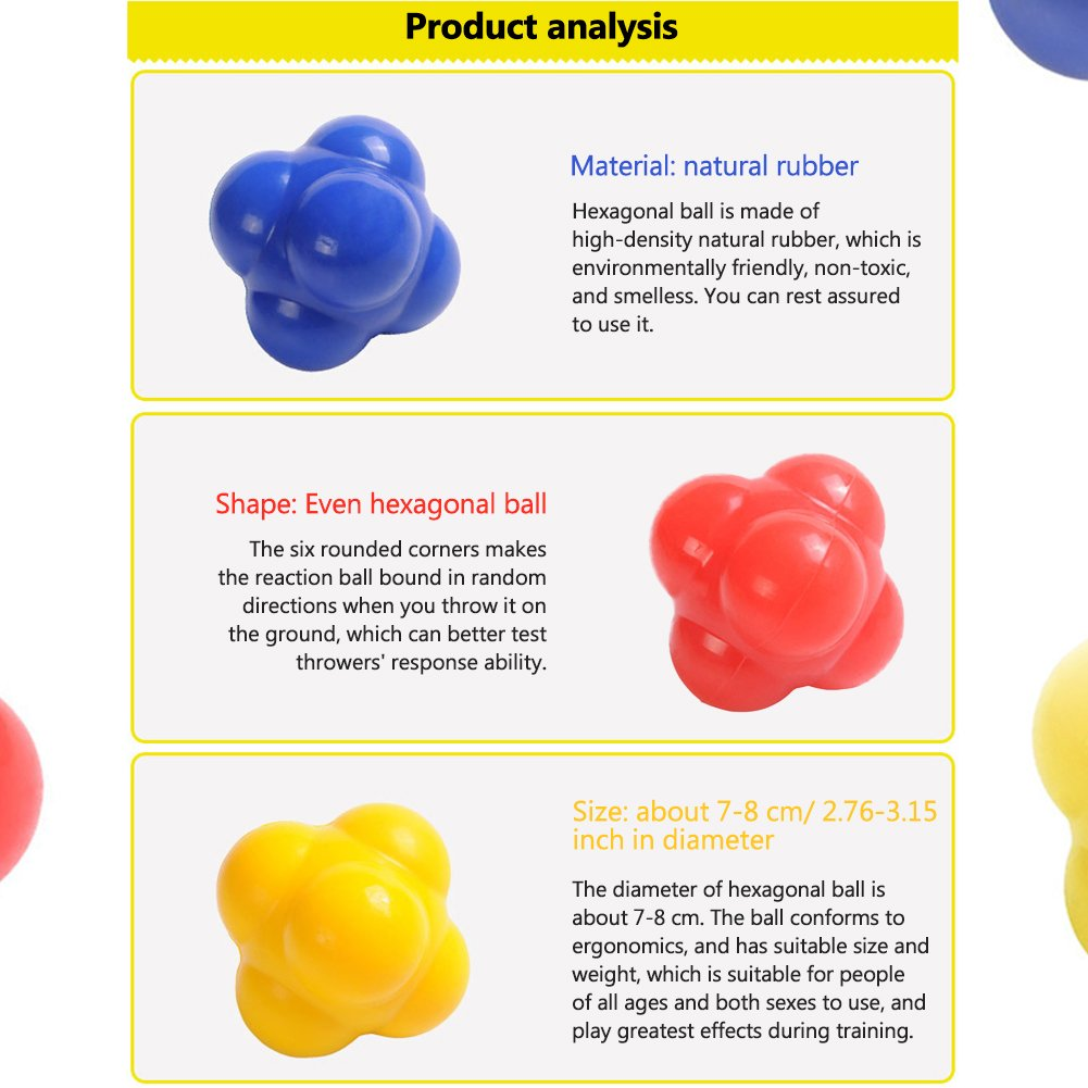 SueSupply 1* Reaktionsball Reflexball Speedball Geschwindigkeits-Reaktionsball f/ür Sport Freizeit und Therapie-Rot//Gelb//Blau//Grun