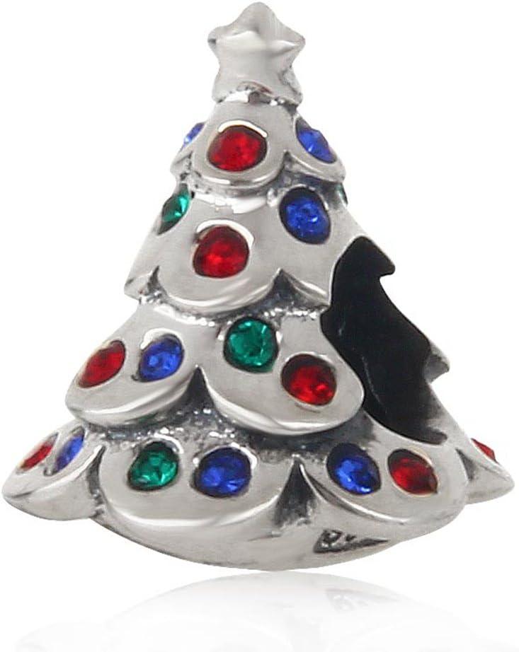 Choruslove Colorful Crystal Christmas Tree Charm for 3mm European Bracelet Gift