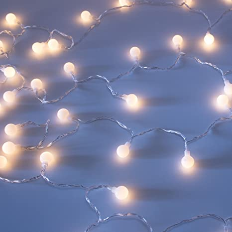 luxlumi tiny white globe string lights with warm white 50 led remote control for multiple