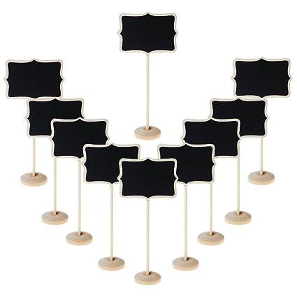 Mini pizarra de tiza de Sumaju de madera con forma de corazón/lazo, con soporte vertical, uso para mensajes, etiquetas, tarjetas, pack de 10, Lace