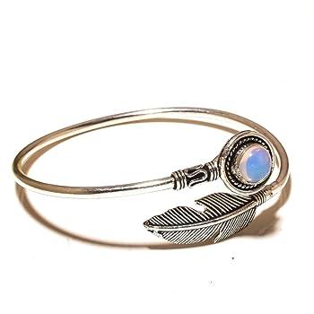 Gift Jewelry! Handmade Jewelry! White Opalite Sterling Silver Overlay Bangle/Bracelet Free Size