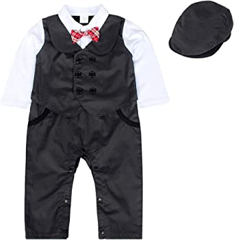 Infant Boy Baby Formal Suit Tuxedo Peagent Romper Wedding Party Jumpsuit Outfits