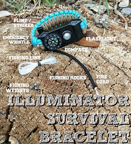 Paracord Survival Bracelet with Built in LED Flashlight Flint /Striker Whistle Compass & MORE