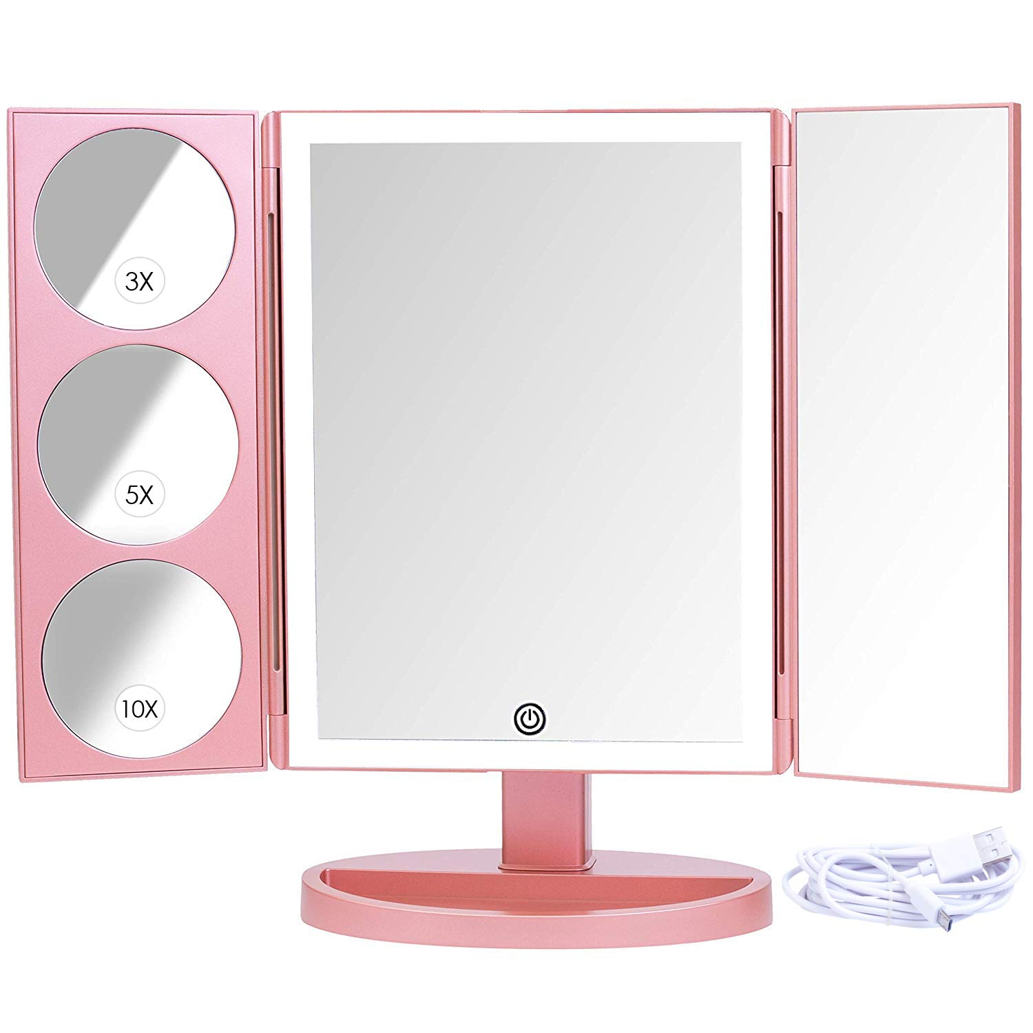 Mirrorvana XLarge Vanity Mirror with Lights | Extravagant Trifold LED Lighted Makeup Mirror with 3X, 5X, 10X Magnification & Bonus USB Cable (2018 XLarge Rose Gold Model) by Mirrorvana