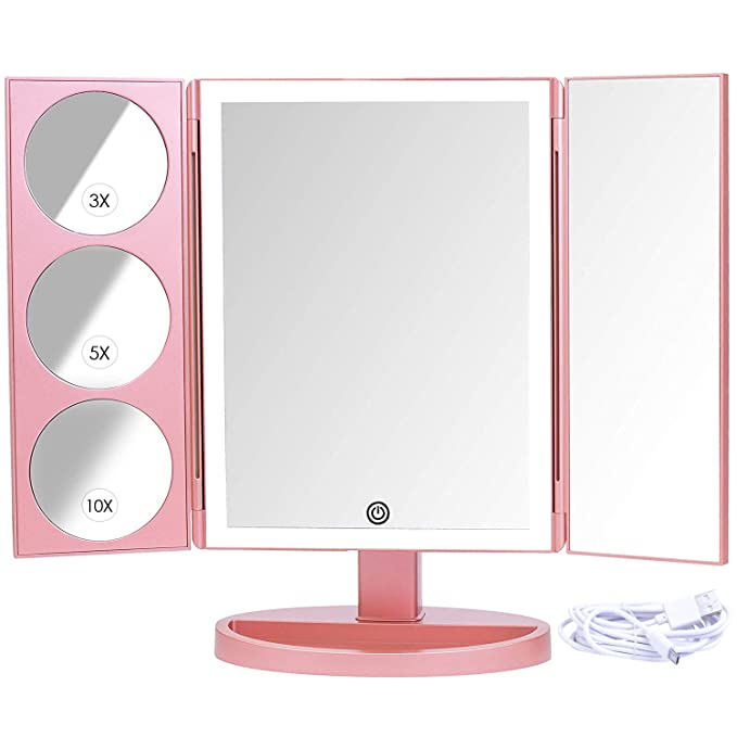 Mirrorvana XLarge Vanity Mirror with Lights | Extravagant Trifold LED Lighted Makeup Mirror with 3X, 5X, 10X Magnification & Bonus USB Cable (2018 XLarge Rose Gold Model)