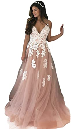 Ruolai V Neckline Spaghetti Straps Long Evening Dress with Lace Blush-Ivory 2