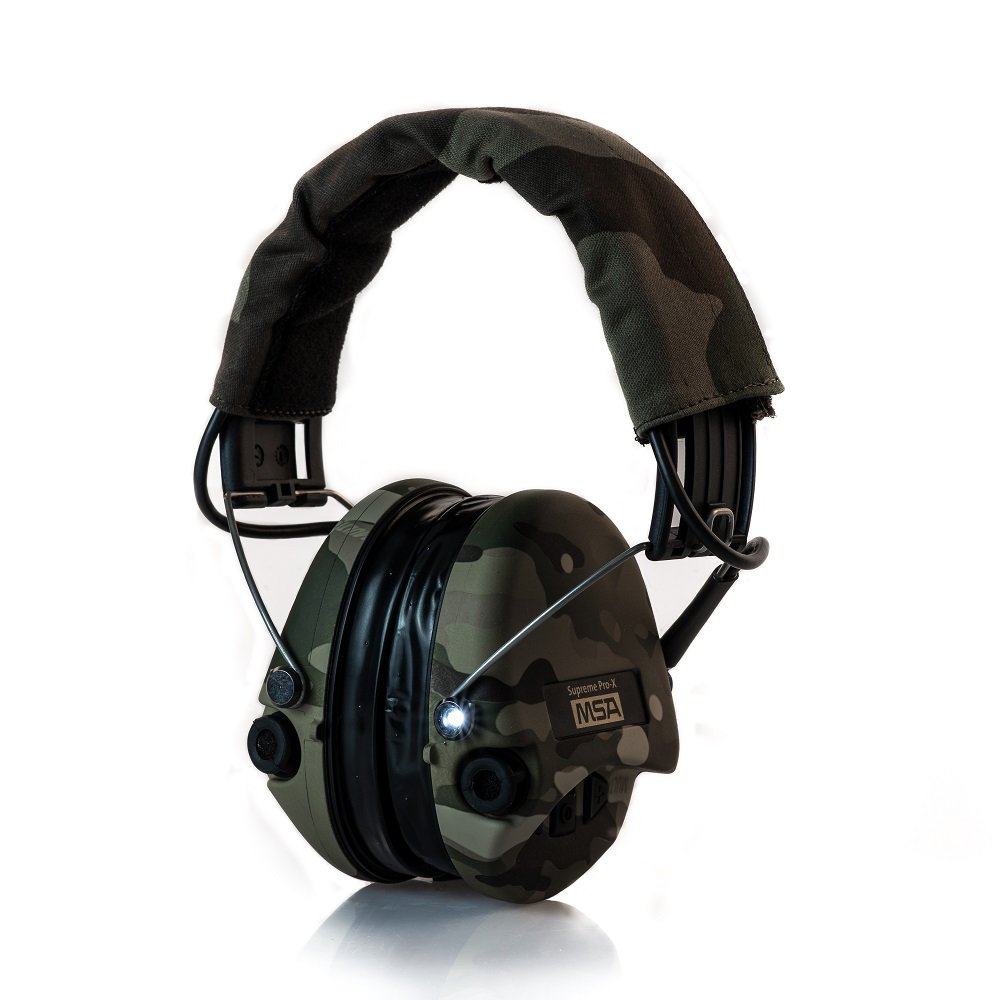 MSA Sordin Supreme Pro X with LED Light - Electronic Shooting EarMuff, Full Camo-Edition