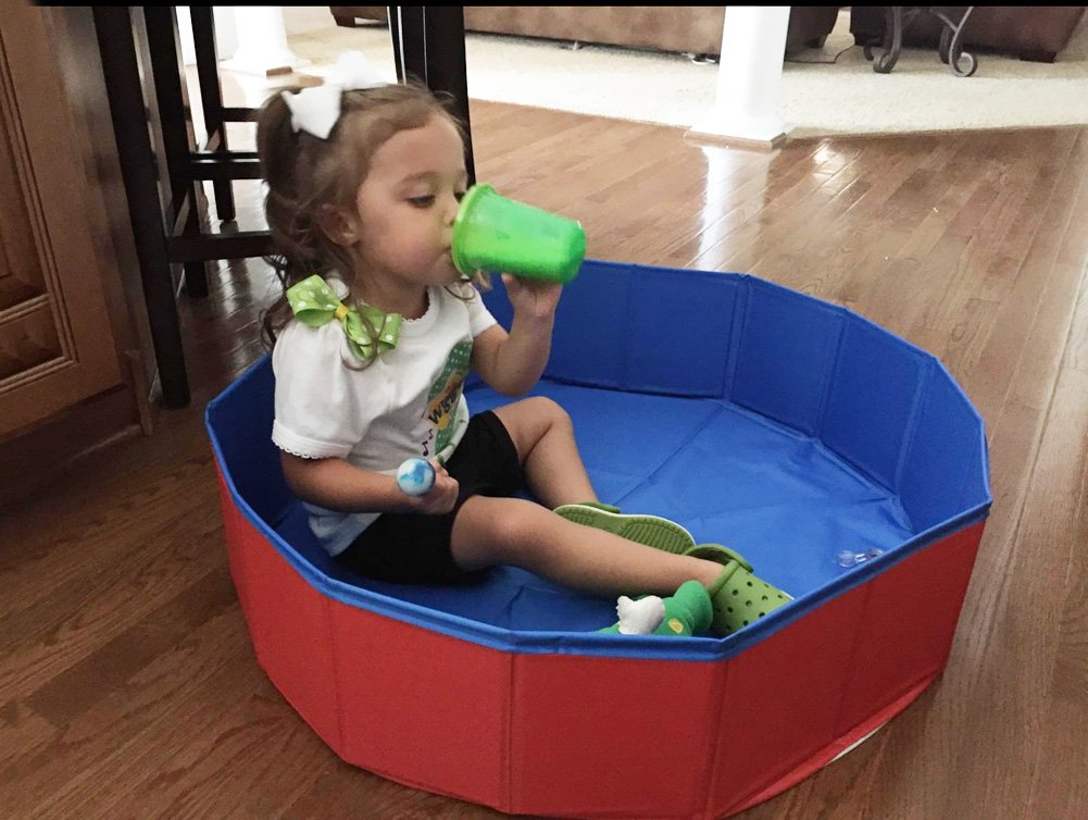 Fuloon Foldable Dog Paddling Pool Puppy Cats Swimming Bathing Tub Pet Children Kid Ball Water Ponds by Fuloon (Image #2)