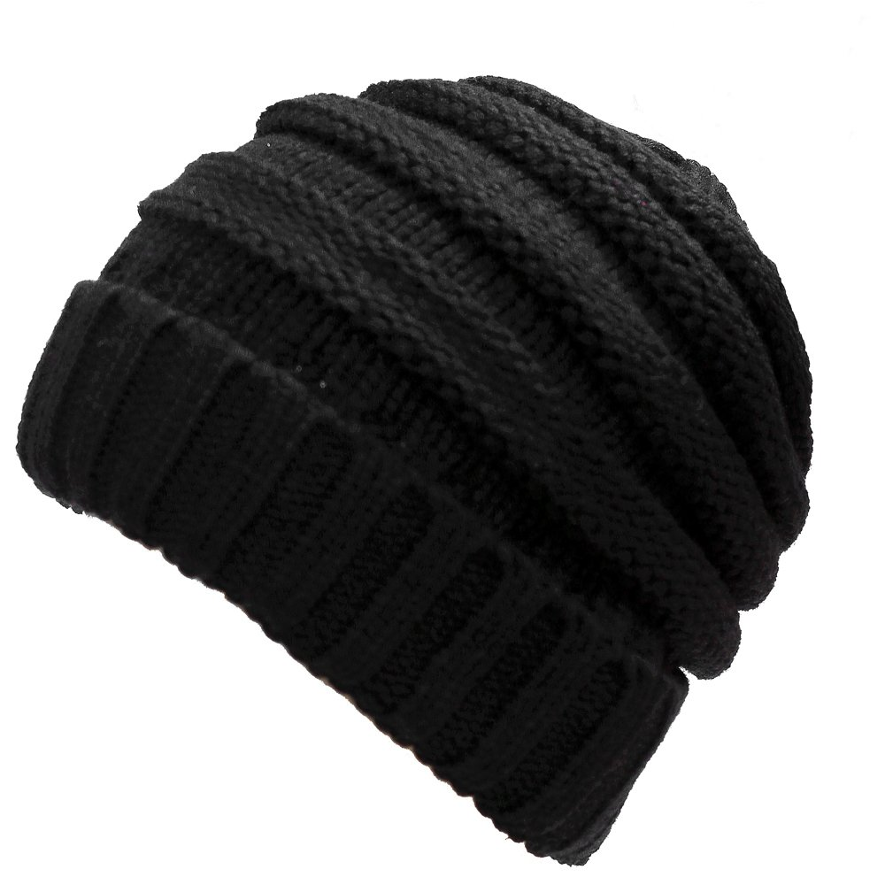b14a91a97d5abe Amazon.com : DEMTER Unisex Winter Warm Cable Knitting Hat Parent-Child Hats  Wool Baggy Slouchy Thick Beanie Skull Cap For Women Men 2 Packs (Black) :  Sports ...