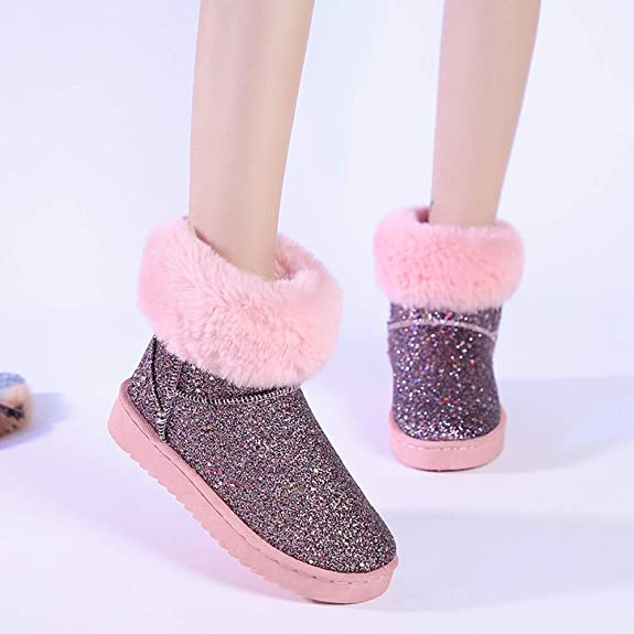 Amazon.com | Snow Boots for Women Winter Warm Bling Bling Glitter Footwear Fluffy Botines Plush Thick Bottomed Martin Bottines | Shoes