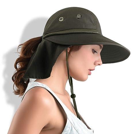 eb4210d1c1e841 FURTALK Safari Sun Hats for Women Wide Brim UV UPF Ponytail Outdoor Hunting  Summer Fishing Hiking