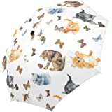InterestPrint Seamless Cats And Butterfly Windproof Auto Open And Close Foldable Umbrella,Kitten Travel Unbreakable