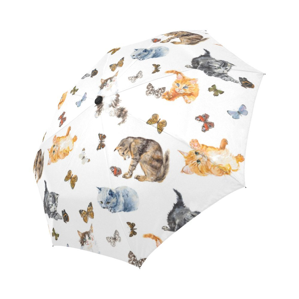 InterestPrint Seamless Cats And Butterfly Windproof Auto Open And Close Foldable Umbrella,Kitten Travel Unbreakable Compact Sun And Rain Umbrella UV Protection