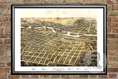 Ted's Vintage Art Aurora Illinois 1867 Vintage Map Print | Historic Kane County, IL Art | Digitally Restored On Museum Quality Matte Paper 24