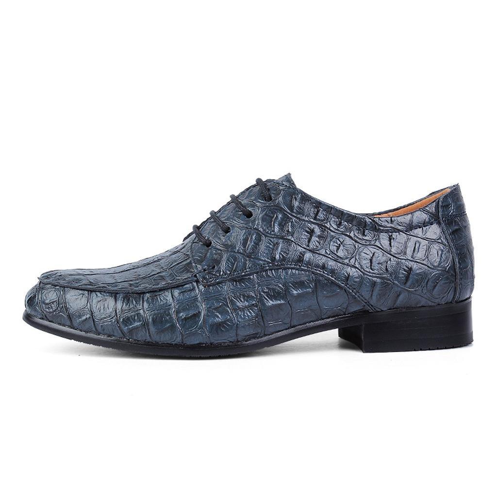 M&M MäNner Business Casual Krokodilmuster Schuhe Abteilung der SchnüRsenkel Krokodilmuster Casual Schuhe Fahrschuhe Blau ebb9c4