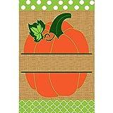 Green Polka Dot Pumpkin 18 x 13 Rectangular Burlap Double Applique Small Garden Flag For Sale