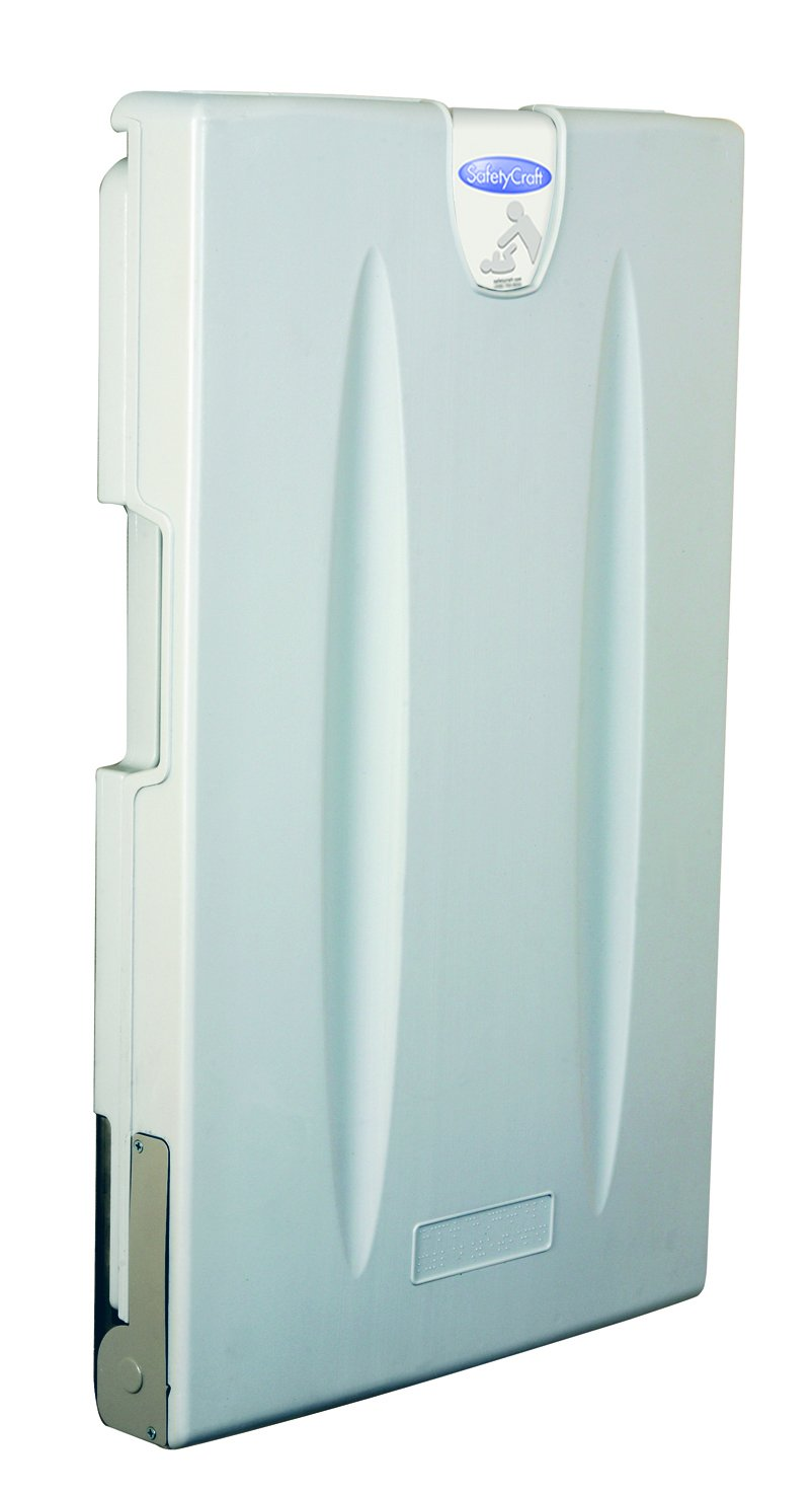 SafetyCraft Vertical Wall Mounted Baby Changing Station Light Gray
