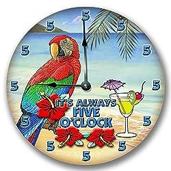 ITS ALWAYS 5 O'CLOCK wall art clock novelty margarita parrot 10 1/2