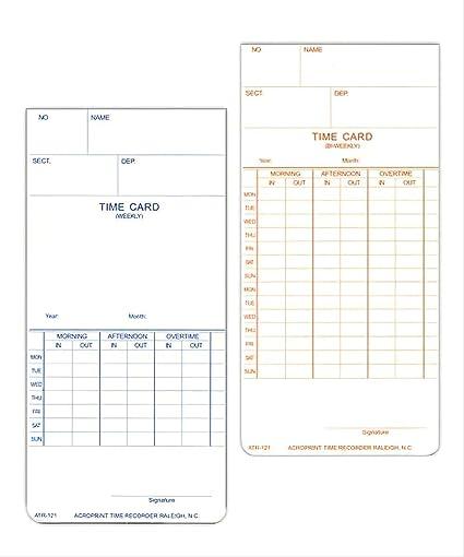 Acroprint atr121 tiempo tarjetas, 250 tarjetas de tiempo, Weekly ...