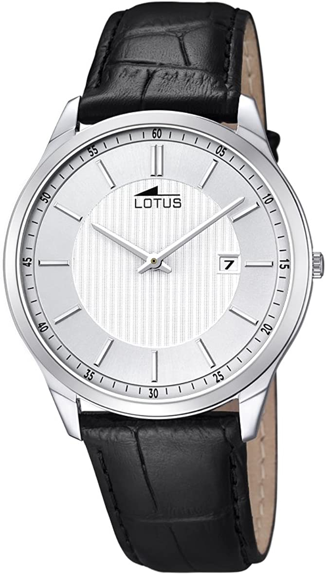 para Hombre de Loto Reloj Infantil de Cuarzo con Esfera analógica Blanca y Negro Correa de Piel 10124/2
