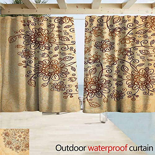 AndyTours Exterior/Outside Curtains,Henna Doodle Flower Arrangement Traditional Nature Inspired Illustration Soft Colors,Rod Pocket Energy Efficient Thermal Insulated,W63x45L Inches,Brown Pale Orange