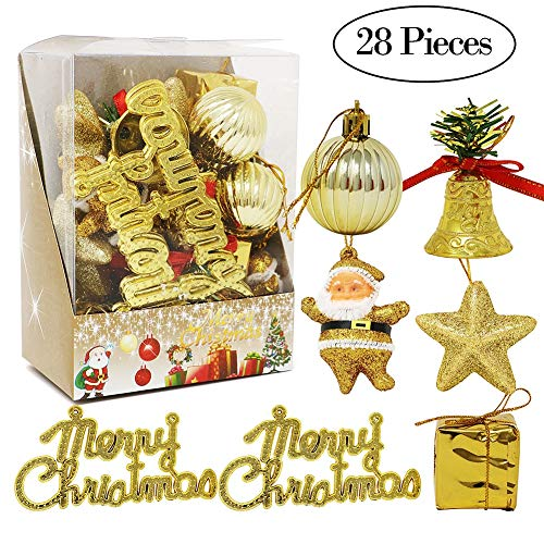 - Onshine 28pcs Christmas Shatterproof Ornaments Santa Claus Decorations Baubles Pendants with Reusable Hand-held Gift Package for Year Holiday Party Christmas Tree Decorations(Gold)
