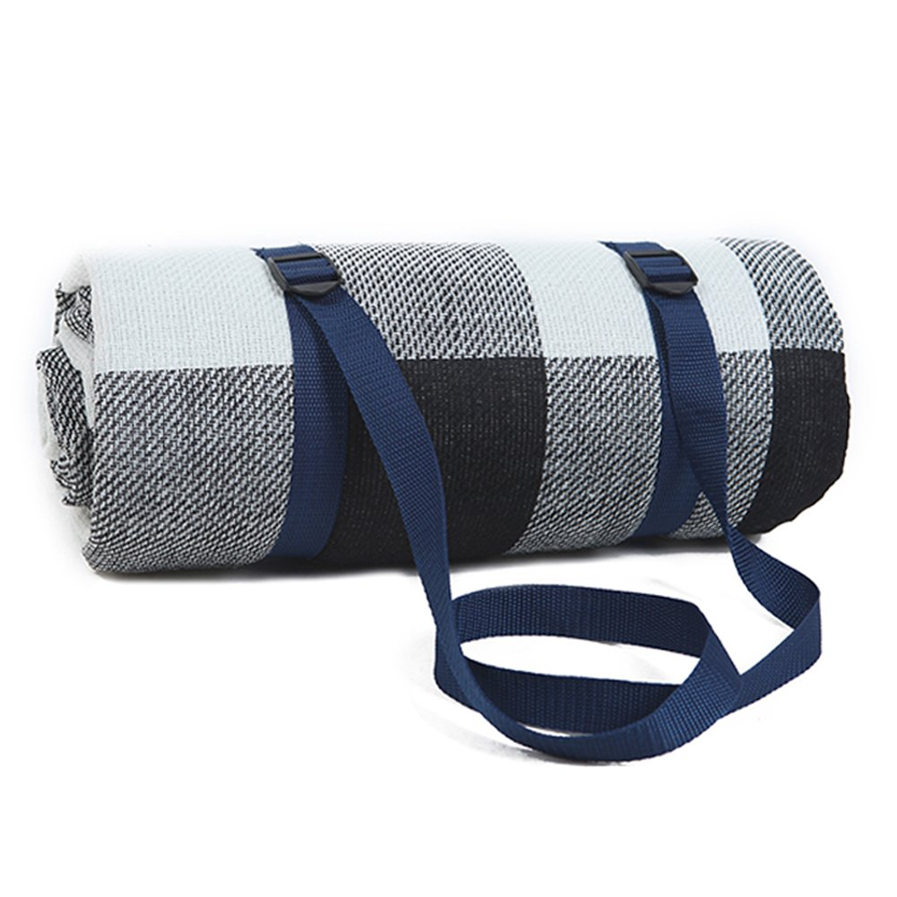DEYI Waterproof Picnic Blanket Mat Large Oversized White and Grey Checkered 79'' x 79'' inch