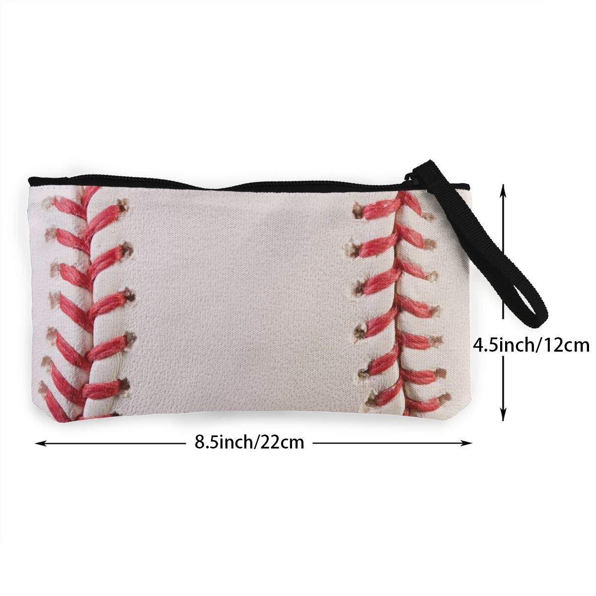 Canvas Cash Coin Purse,Baseball Lace Print Make Up Bag Zipper Small Purse Wallets
