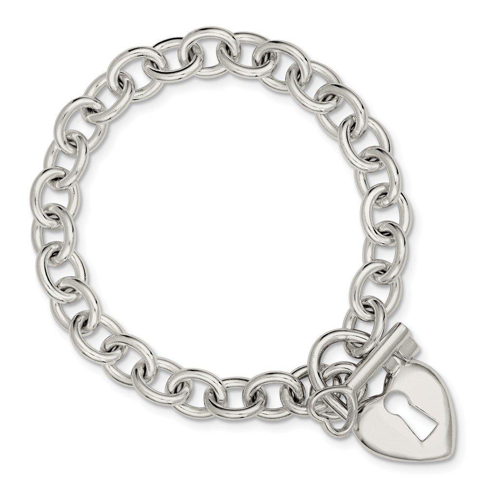 Sterling Silver Polished Heart and Key Bracelet
