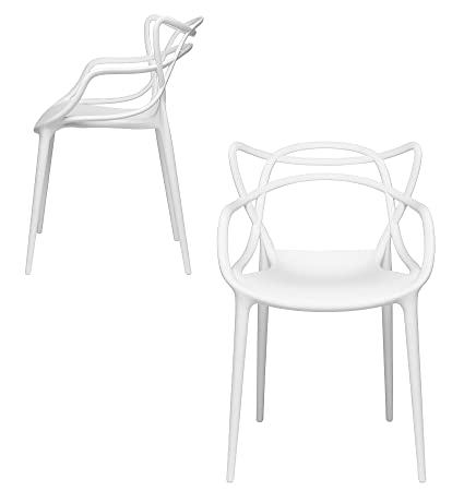 Set Of 2   Masters Entangled Chair   Modern Designer Armchairs For Dining Rooms, Offices And Kitchens (White) by Laura Davidson